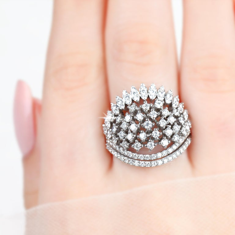 Modern Cocktail Ring with 1.52 E-F VS Quality Fine Jewelry, Desing Jewelry, Gift for He For Sale