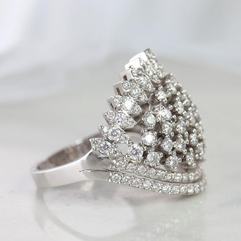 Marquise Cut Cocktail Ring with 1.52 E-F VS Quality Fine Jewelry, Desing Jewelry, Gift for He For Sale
