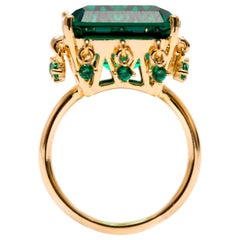 Cocktail Ring with Cushion Cut Emerald Color Stone with Charms Vermeil Gold