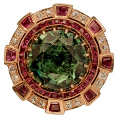 Large Cocktail Ring with Tourmaline, Rubies and Diamonds Set in 18 Karat Gold