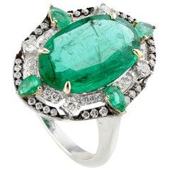 Cocktail Slice Emerald Ring with Diamonds Set in 18 Karat White Gold
