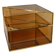 Cocktail Table in Glass and Brass Made in Italy