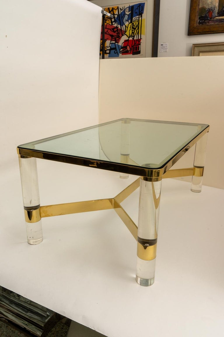 Mid-Century Modern Signed Karl Springer Cocktail Table in Lucite and Brass For Sale