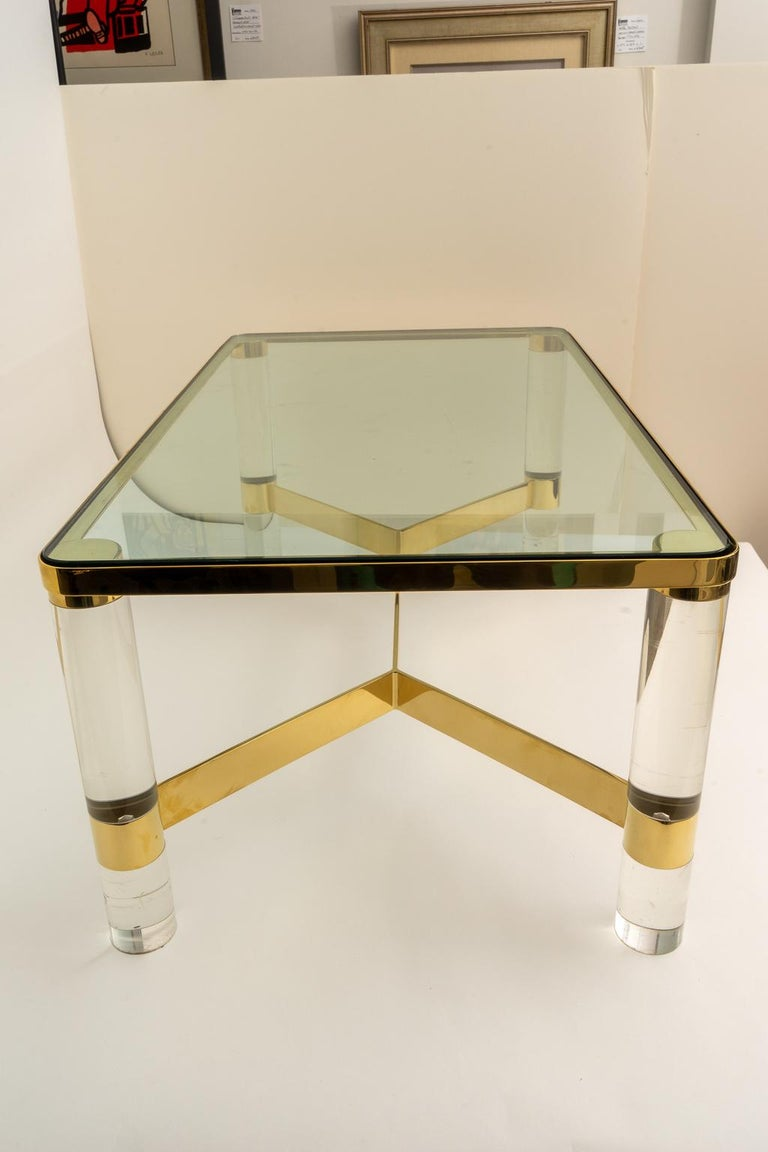 American Signed Karl Springer Cocktail Table in Lucite and Brass For Sale
