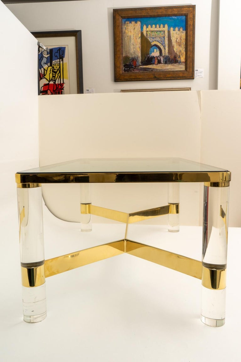 Polished Signed Karl Springer Cocktail Table in Lucite and Brass For Sale