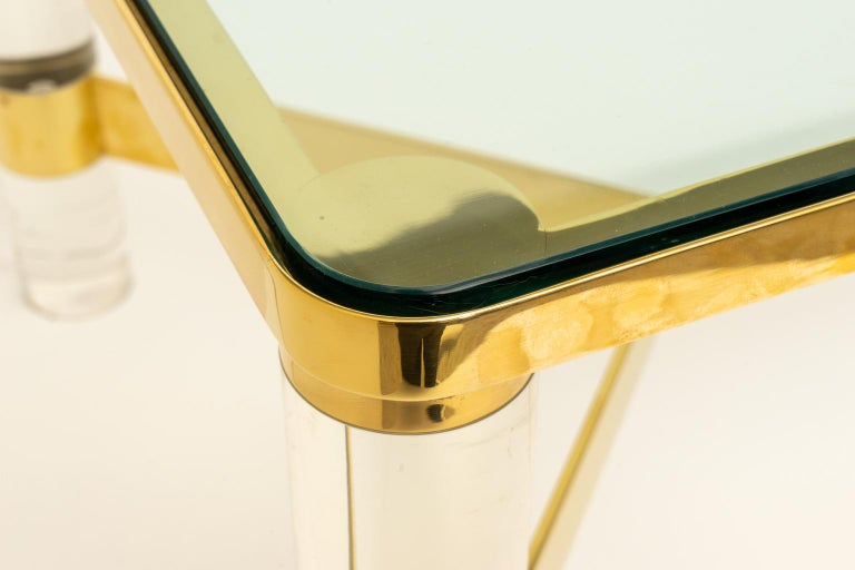 Signed Karl Springer Cocktail Table in Lucite and Brass For Sale 1