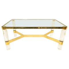 Signed Karl Springer Cocktail Table in Lucite and Brass