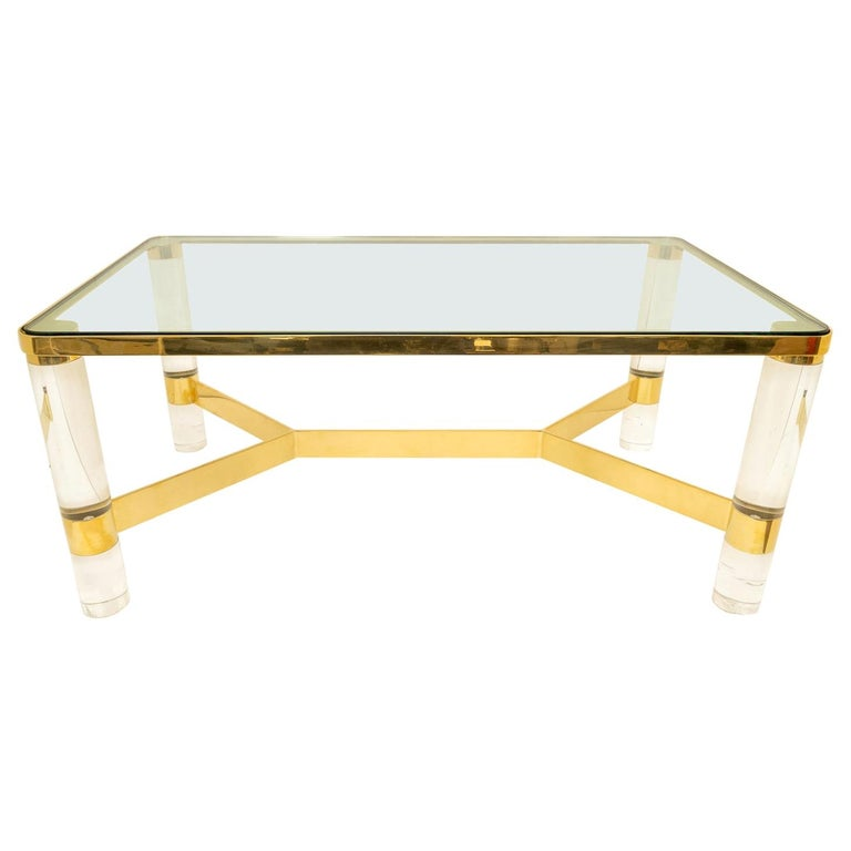 Signed Karl Springer Cocktail Table in Lucite and Brass For Sale