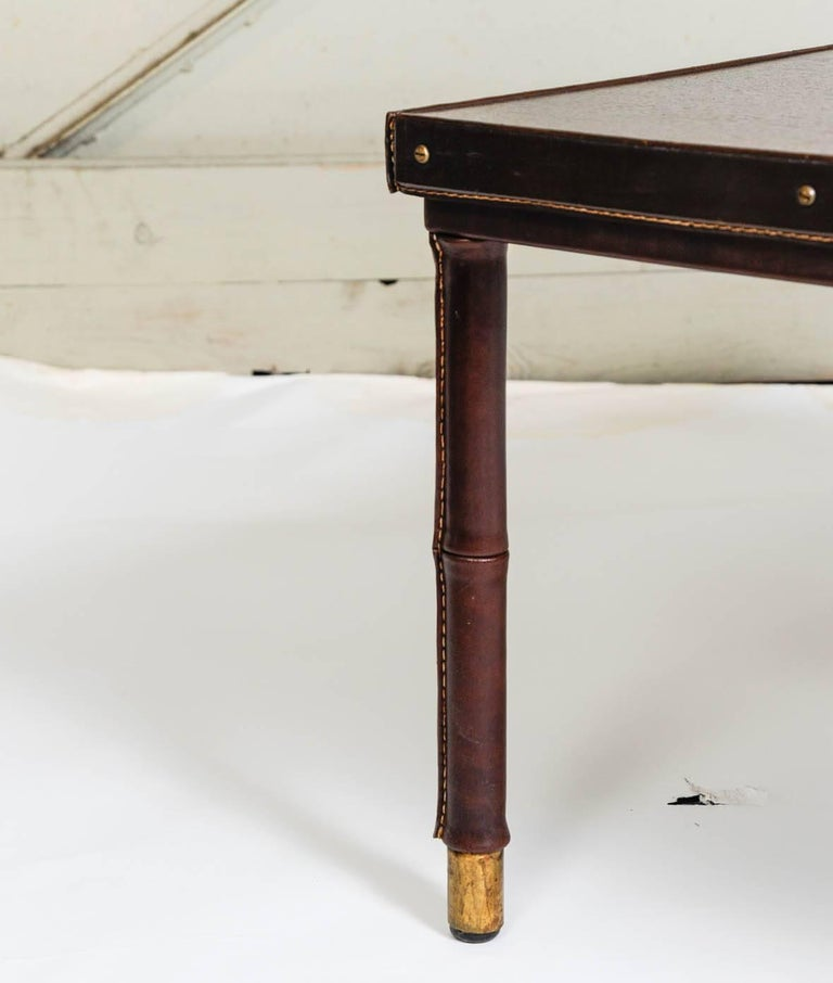 Cocktail Table in Stitched Leather by Jacques Adnet For Sale 1