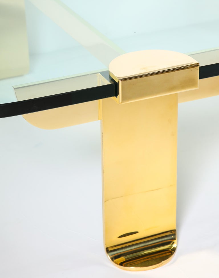 Cocktail Table, Solid Brass and Glass Sculpture Table, Italy, circa 1960 For Sale 3