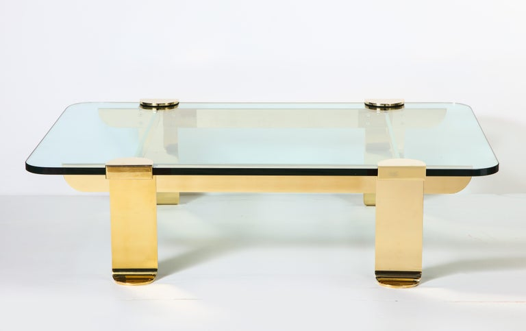 Italian Cocktail Table, Solid Brass and Glass Sculpture Table, Italy, circa 1960 For Sale