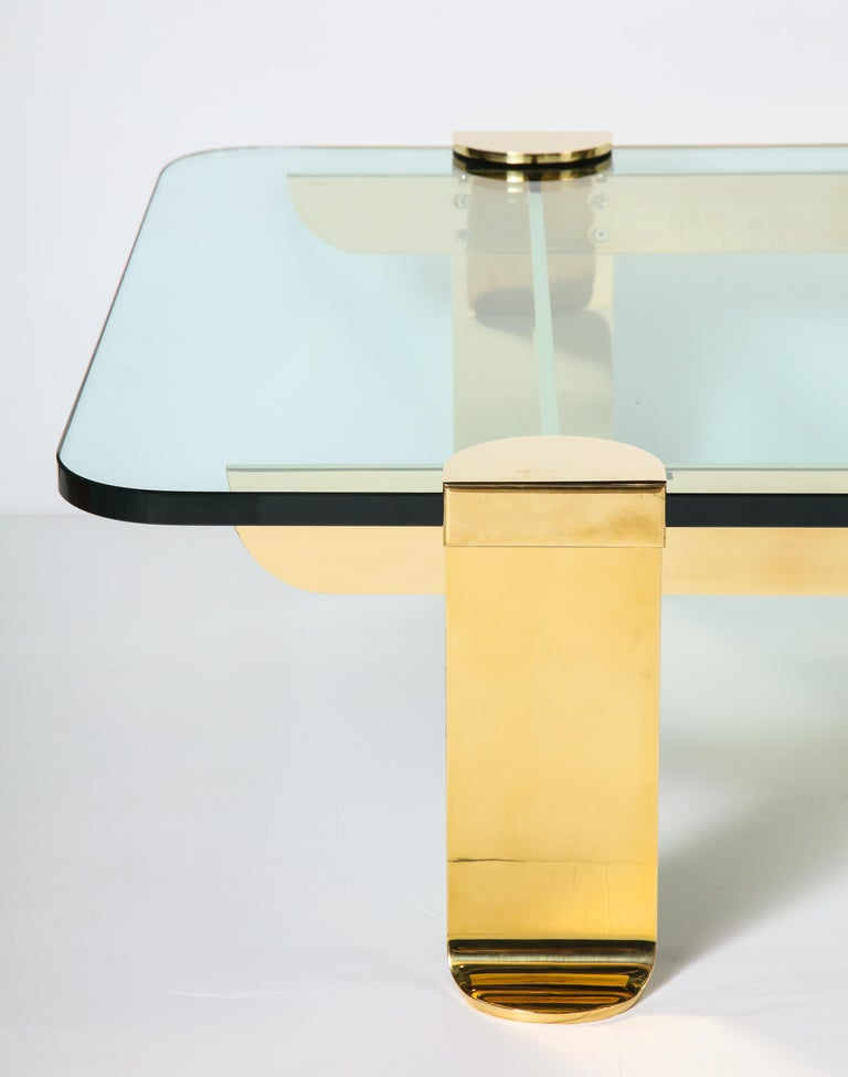 Hand-Crafted Cocktail Table, Solid Brass and Glass Sculpture Table, Italy, circa 1960 For Sale