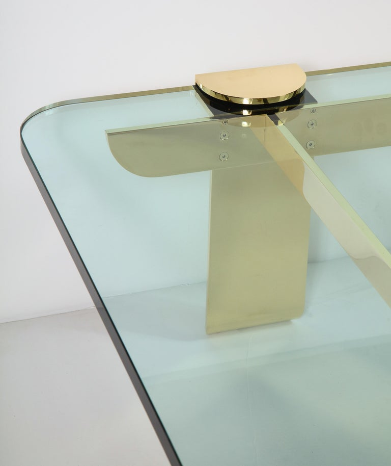 Cocktail Table, Solid Brass and Glass Sculpture Table, Italy, circa 1960 In Good Condition For Sale In New York, NY