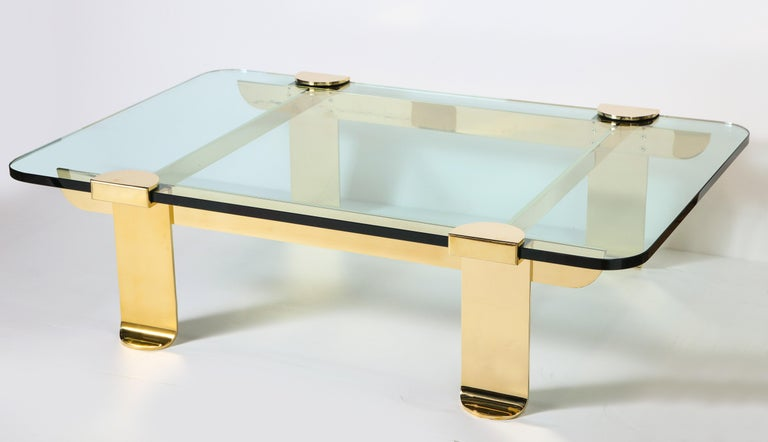 Mid-20th Century Cocktail Table, Solid Brass and Glass Sculpture Table, Italy, circa 1960 For Sale