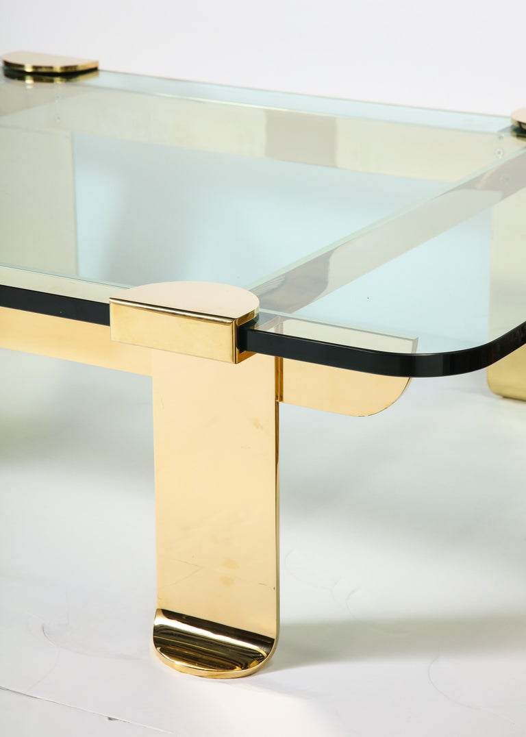Cocktail Table, Solid Brass and Glass Sculpture Table, Italy, circa 1960 For Sale 1