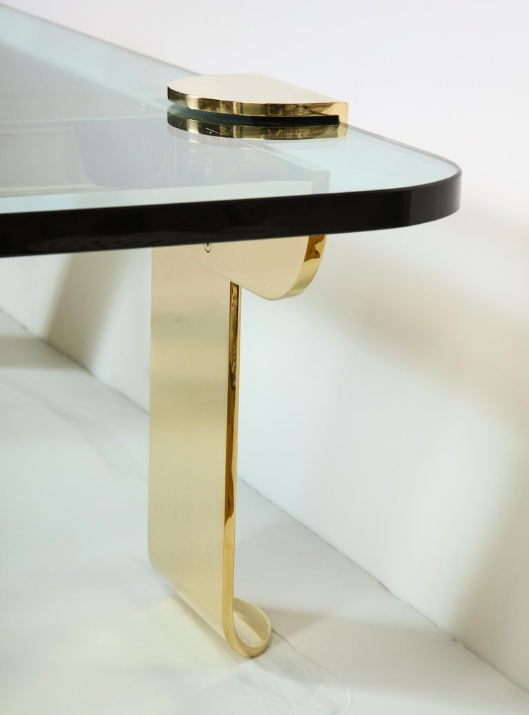 Cocktail Table, Solid Brass and Glass Sculpture Table, Italy, circa 1960 For Sale 2
