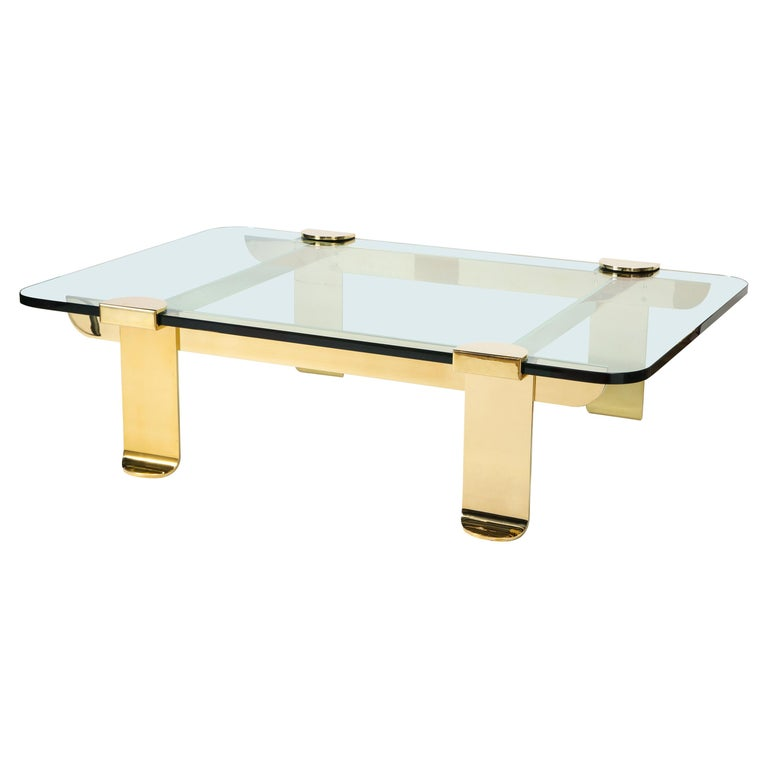 Cocktail Table, Solid Brass and Glass Sculpture Table, Italy, circa 1960 For Sale