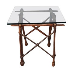 Cocktail Table with 19th C African Wood and Leather Base