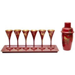 Cocktail Urushi Japanese Red Lacquered Set from England, circa 1910
