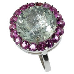 Cocktails are Perfect with the Green Beryl and Pink Sapphire Ring