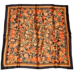 "Coco Brown Border with ""Bursting Marigold Florals"" Scarf"
