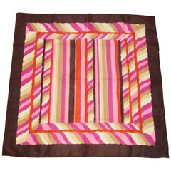 "Coco Brown Border with Multicolor ""Candy Canes"" Scarf"