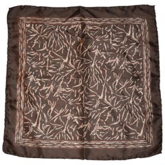 "Coco Brown Border With ""Winter's Branches"" Silk Handkerchief"