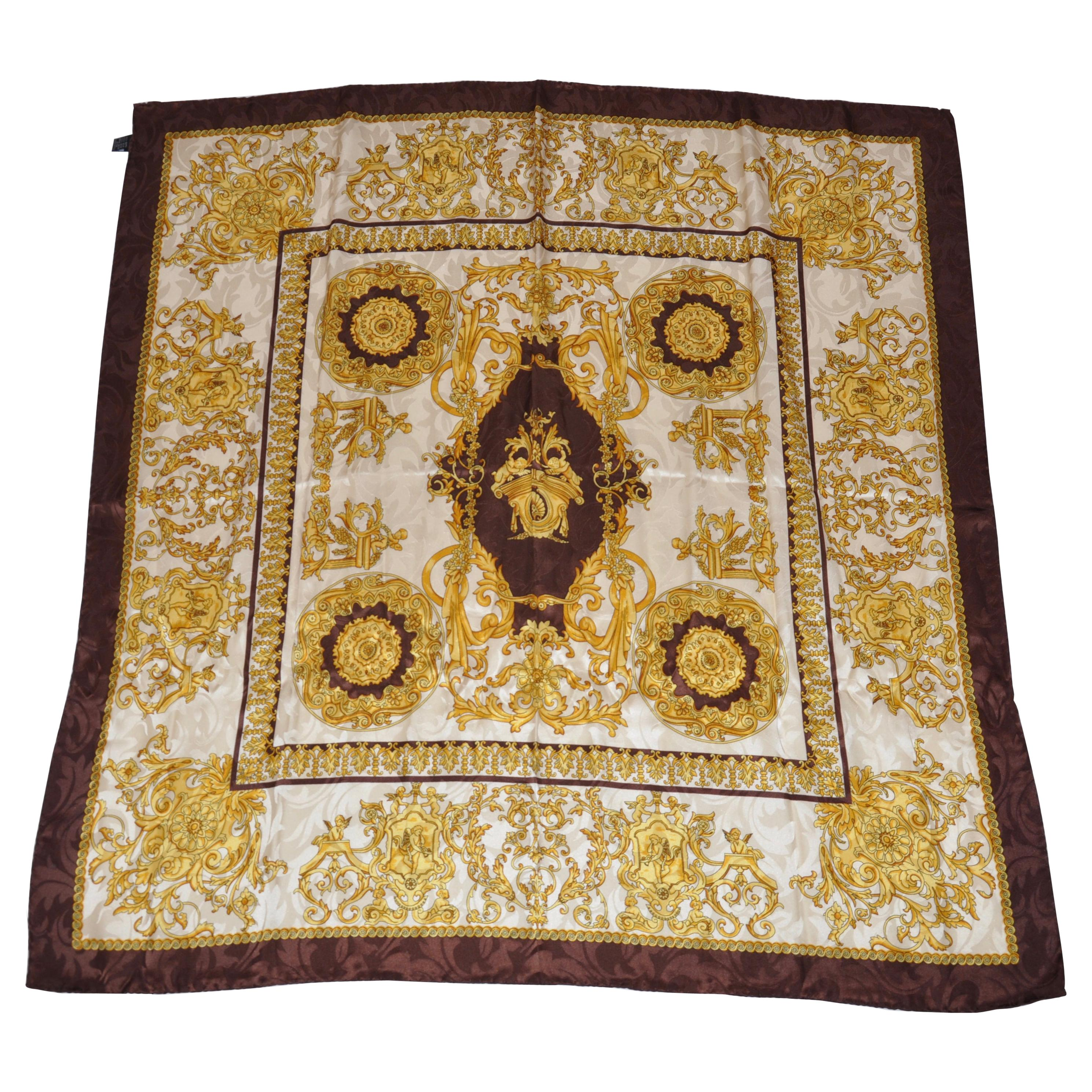 "Coco Brown & Gold ""Collection Of Cupids"" Silk Scarf"