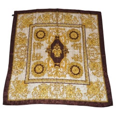 """Coco Brown & Gold """"Collection Of Cupids"""" Silk Scarf"""