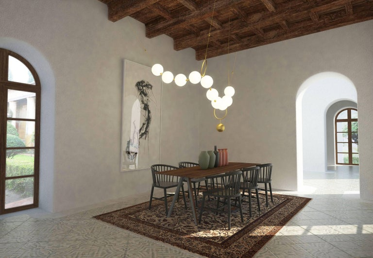 Modern Coco Chandelier, Configuration 01 in Aged Brass by Larose Guyon For Sale