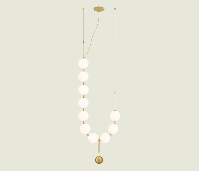 Modern Coco Chandelier, Configuration 04 in Aged Brass by Larose Guyon For Sale