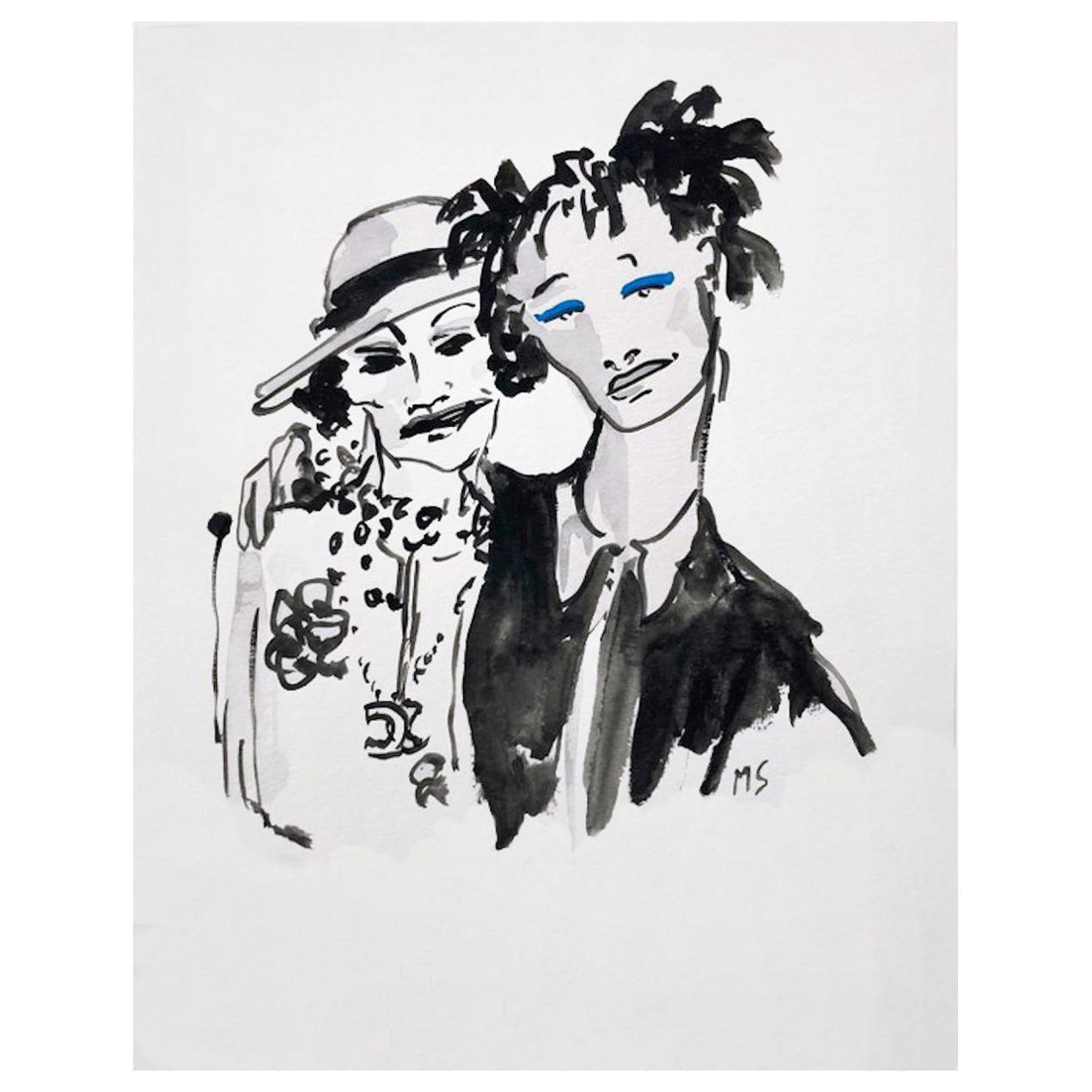 Coco Chanel and Willow Smith, Gouache and Watercolor on Archival Paper