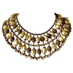 Coco Chanel Baroque Gilt Pearl Collar Circa 1930