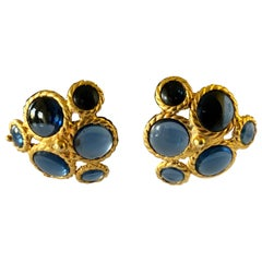Coco Chanel Blue Cluster Haute Couture Statement Earrings