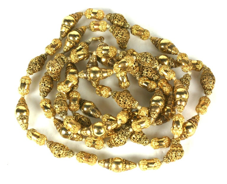 Coco Chanel Gilt Filigree Bead Long Necklace, Goossens For Sale 1