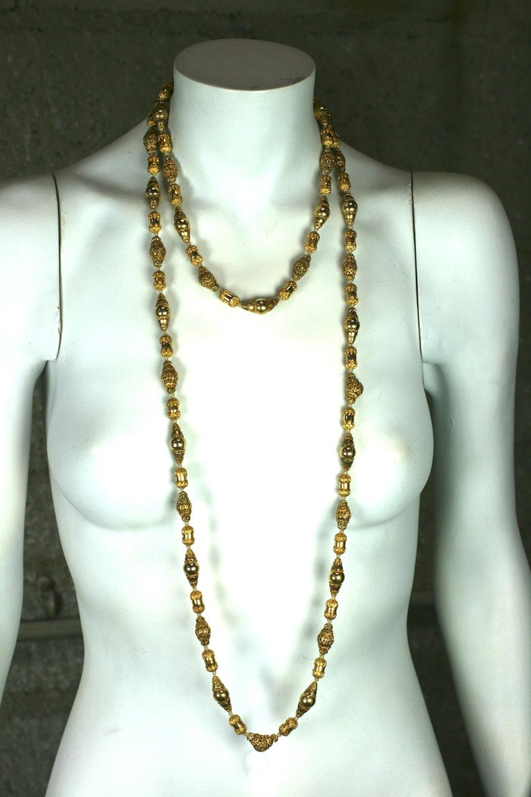 Coco Chanel Gilt Filigree Bead Long Necklace, Goossens For Sale 2