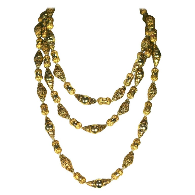 Coco Chanel Gilt Filigree Bead Long Necklace, Goossens For Sale