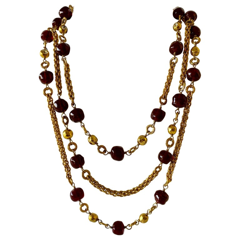 Coco Chanel Gilt Red Triple Strand Diamante Statement Necklace For Sale
