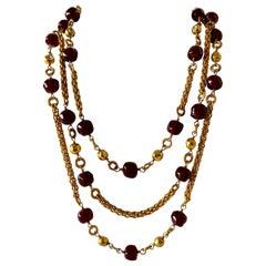 Coco Chanel Gilt Red Triple Strand Diamante Statement Necklace
