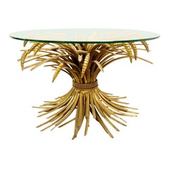 """Coco Chanel"" Gilt Sheaf of Wheat Coffee Table, 1970s"