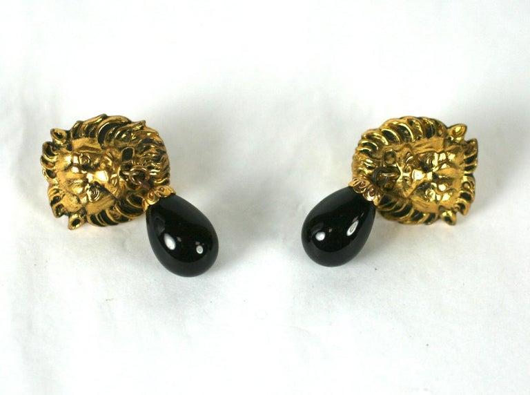 Women's Coco Chanel Lion Head Earrings For Sale