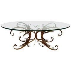 Coco Chanel Mid-Century French Coffee Table Sheaf of Wheat with Rare Oval Glass