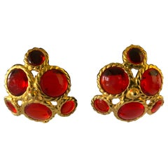 Coco Chanel Red Cluster Haute Couture Statement Earrings