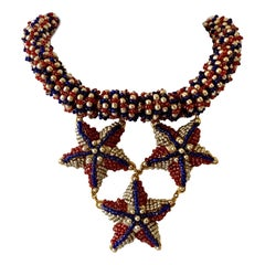 Coco Chanel Red, White and Blue Haute Couture Star Statement Necklace
