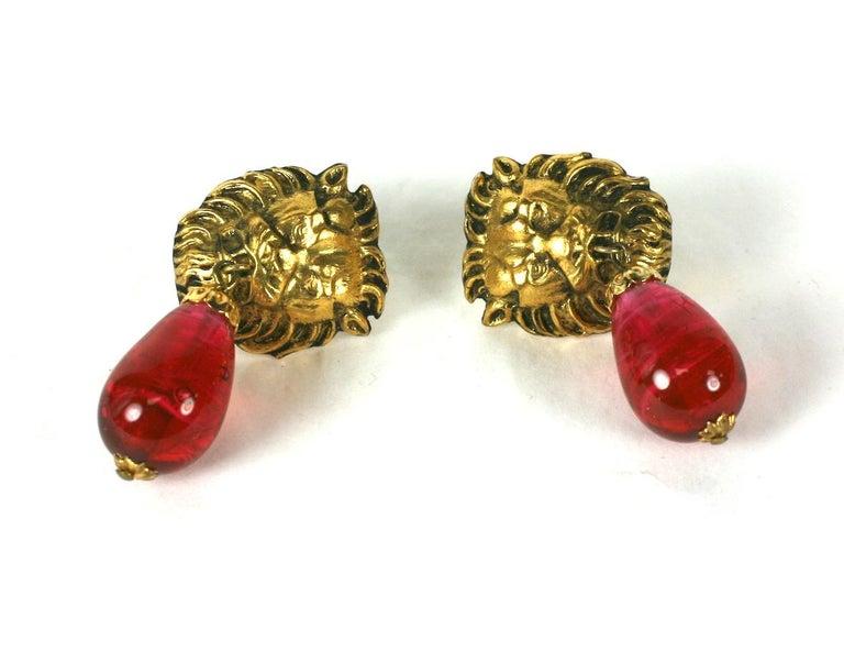Women's Coco Chanel  Lion Head Ruby Drop Earrings For Sale
