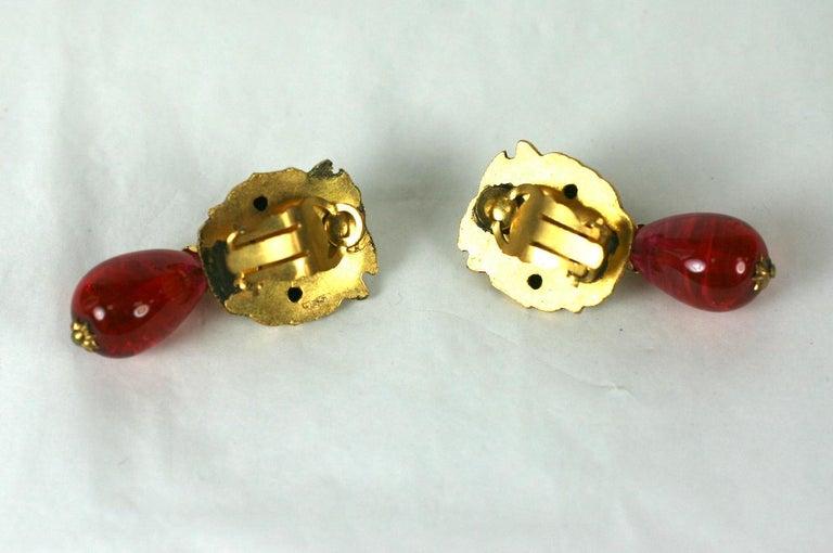 Coco Chanel  Lion Head Ruby Drop Earrings For Sale 1