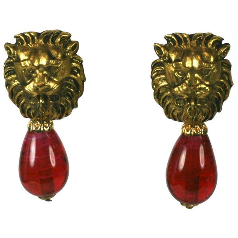 Coco Chanel  Lion Head Ruby Drop Earrings For Sale