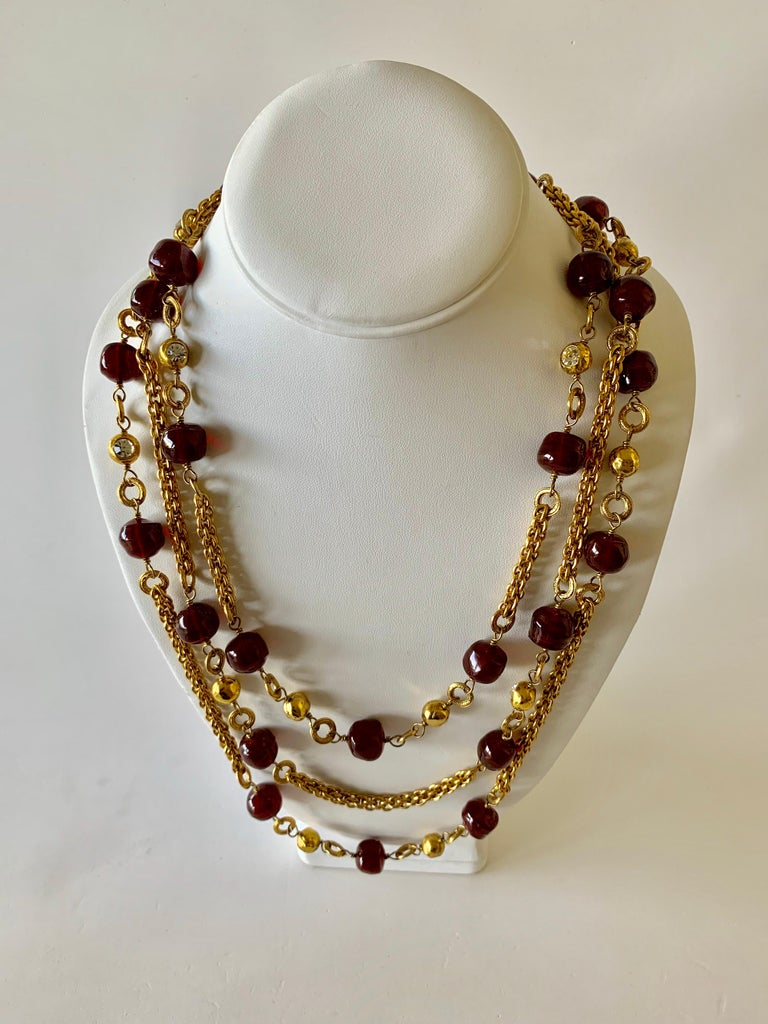 Coco Chanel Gilt Red Triple Strand Diamante Statement Necklace For Sale 5
