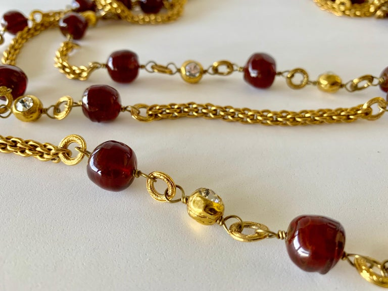 Coco Chanel Gilt Red Triple Strand Diamante Statement Necklace For Sale 8