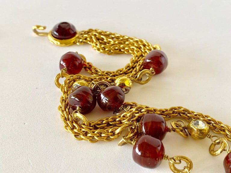 Coco Chanel Gilt Red Triple Strand Diamante Statement Necklace For Sale 9